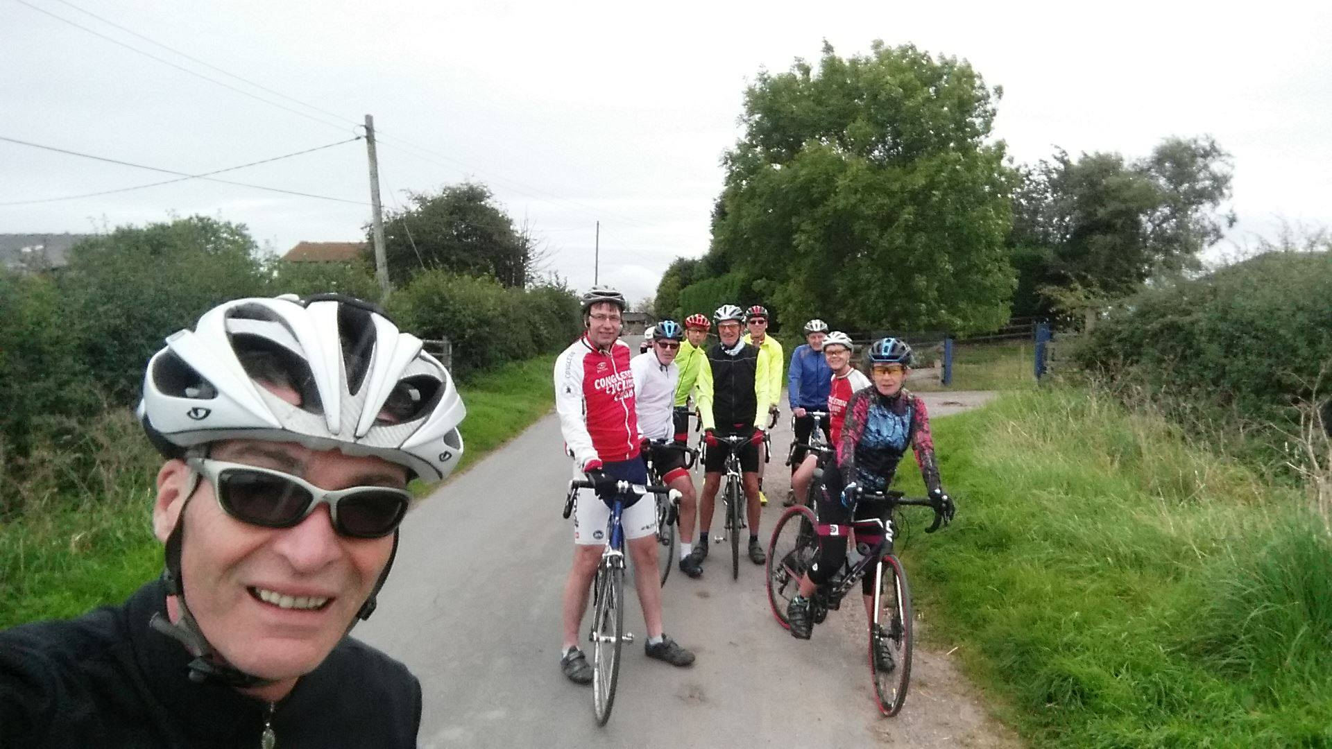 Congleton Cycling Club on the road from Cheddleton